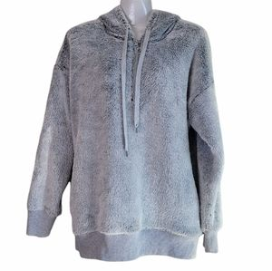 Aerie Faux Fur Hoodie Pullover Gray M